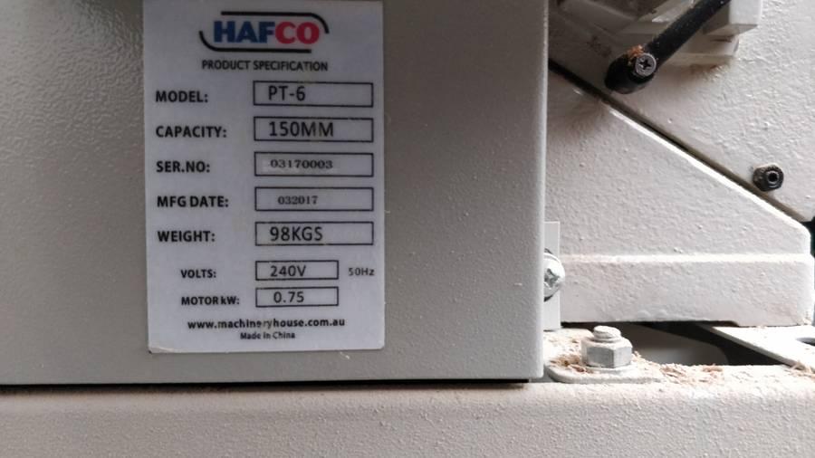 Hafco PT6 Planer Jointer | number8 bid | number 8 solutions Ltd